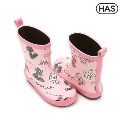 [HAS] 아동 레인부츠_야옹고양이 핑크