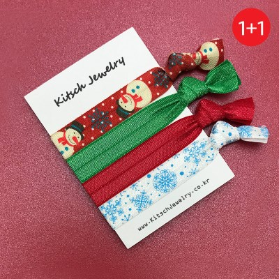 키치쥬얼리 1+1 엘라스틱 헤어타이 스노우크리스마스