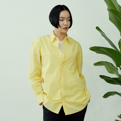 [아르테노] Cotton natural solid shirt-YELLOW
