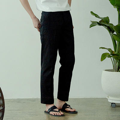 [아르테노] Straight cotton pants-BLACK