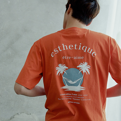 [아르테노] 20s Oversize esthetique t-shirt-ORANGE