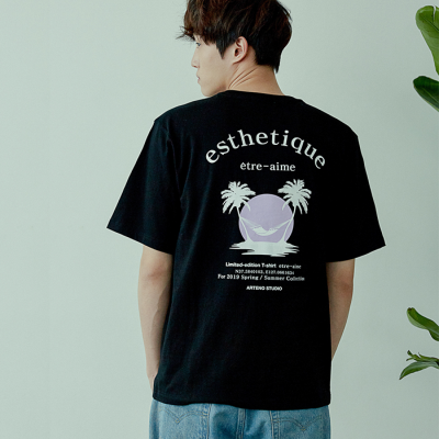 [아르테노] 20s Oversize esthetique t-shirt-BLACK