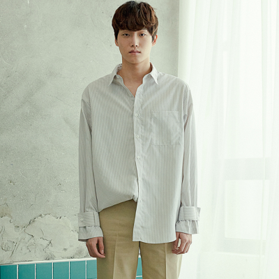 [아르테노] Cuffs point long stripe shirt-WHITE