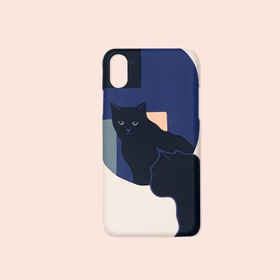Kitty in the mirror phone cases - navy
