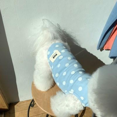 [T.솜사탕도트민소매]Cottoncandy dot sleeveless T_Skyblue