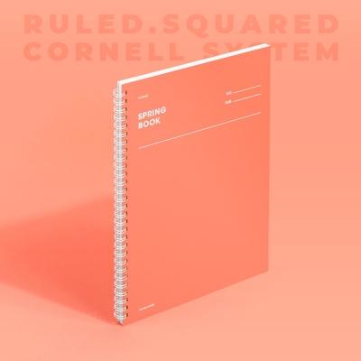 [모트모트] 스프링북 컬러칩 - 리빙코랄 (룰드/스퀘어드/코넬시스템)