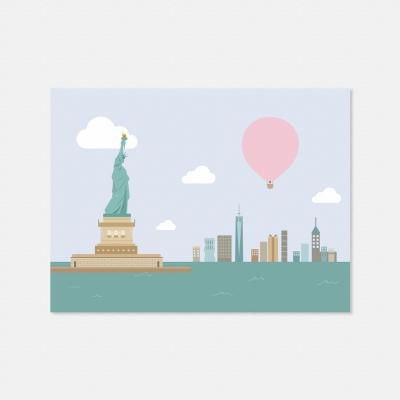 열기구여행 뉴욕 자유의 여신상 엽서