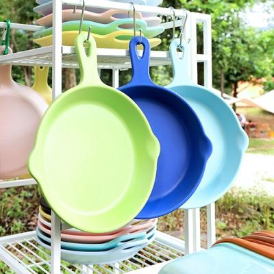 [멜라민웨어] 원형 후라이팬 플레이트-예쁜그릇 캠핑식기 유아식기