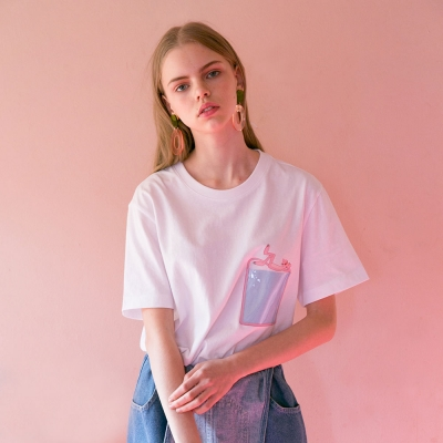 [SS19 Pink Panther] PP Clear Pocket T-Shirts(White)_(673241)