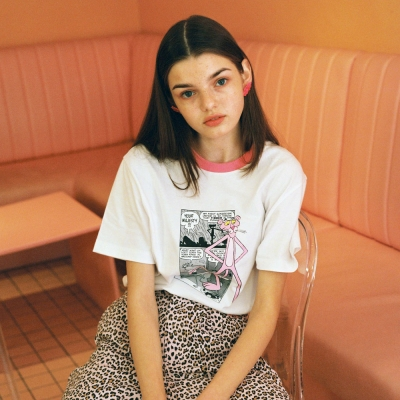 [SS19 Pink Panther] PP Neck Point T-Shirts(White)_(673239)