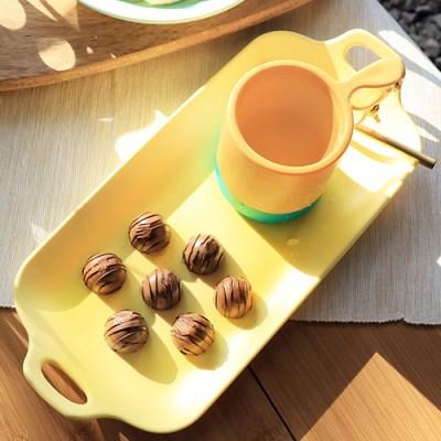 [멜라민웨어] 직사각 핸들 플레이트-예쁜그릇 캠핑식기 유아식기