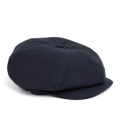 LINEN-COTTON NEWSBOY CAP (navy)