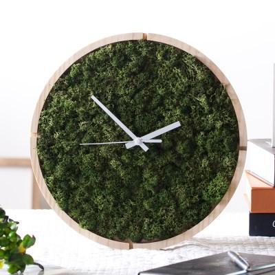 [숲앤숨]  원목 모스 벽시계(30cm)-모스그린