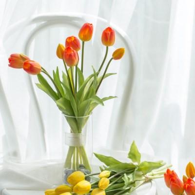 봄의상징 튤립 실크플라워 인테리어조화 3컬러 1단(5대)_(1173872)