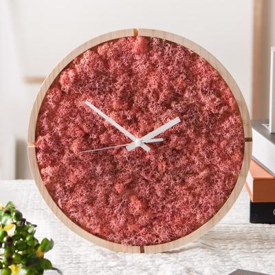 [숲앤숨]  원목 모스 벽시계(30cm)-핑크