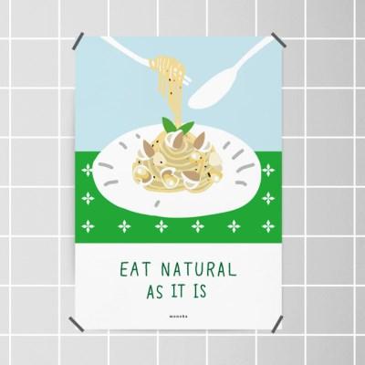 유니크 인테리어 디자인 포스터 M 자연을 먹어요 파스타 스파게티