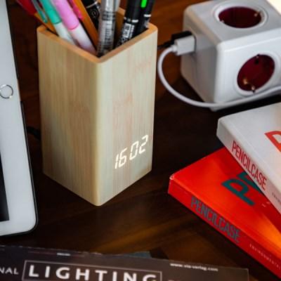LED 연필꽂이 우드 탁상시계