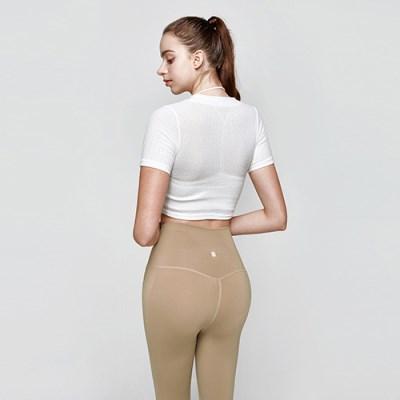 여성 요가복 DEVI-T0009-화이트 필라테스 티셔츠 반팔 크롭티