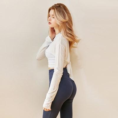 여성 요가복 DEVI-T0008-화이트 필라테스 티셔츠 긴팔