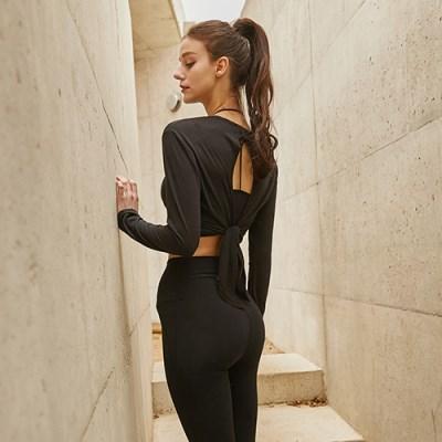 여성 요가복 DEVI-T0008-블랙 필라테스 티셔츠 긴팔