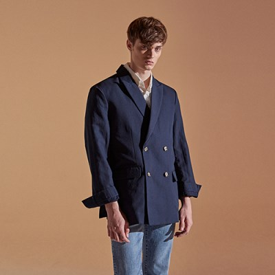 DOUBLE TAILOR LINEN BLAZER_NAVY