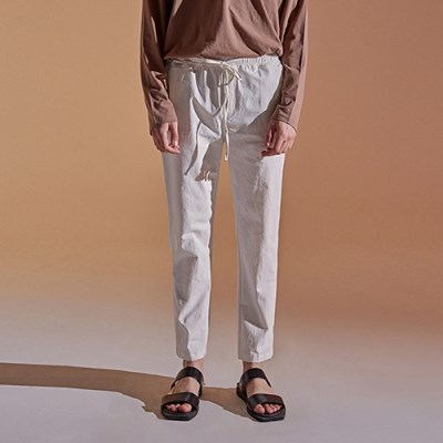 BANDING TAPERED COTTON PANTS_IVORY