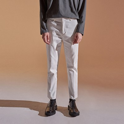SLIM STRAIGHT COTTON PANTS_IVORY