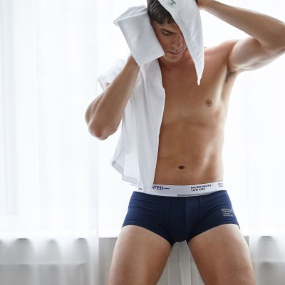 BOXER BRIEFS-LOW RISE WHITE NAVY