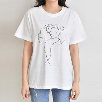 그레이썸 키스미 프린팅 반팔 기본 티셔츠