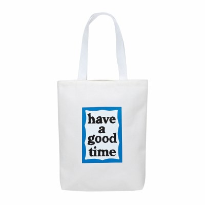 [Haveagoodtime] Blue Frame Tote Bag_WHITE