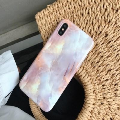 아이폰7/8/8+/xs/xr/max 핑크대리석 젤하드케이스_(1260411)