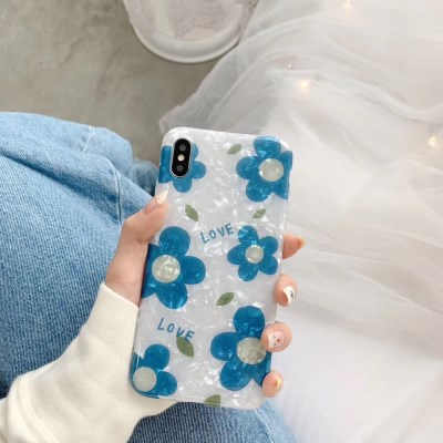블루플라워 자개 아이폰 케이스