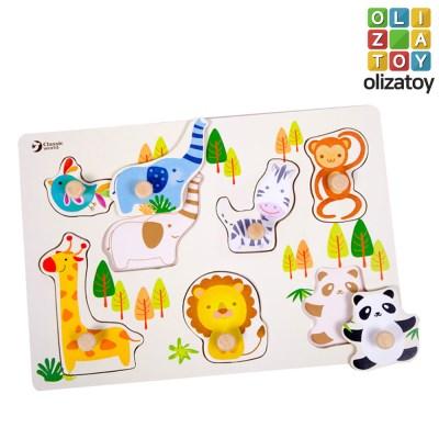 원목 나무 퍼즐 싱싱동물퍼즐 유아 장난감 교구