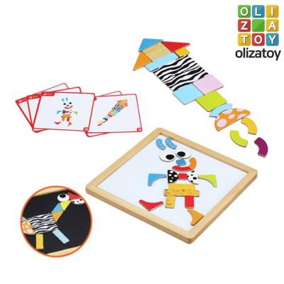 원목 퍼즐 박스 마그네틱 도형만들기 유아 장난감 교구