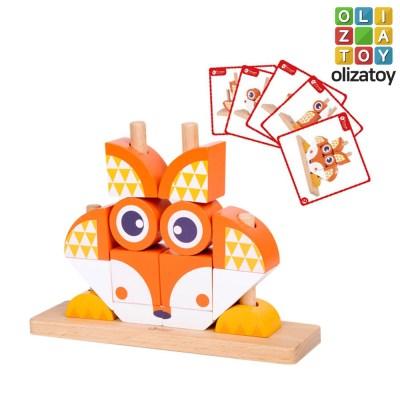 원목 여우 유니 블럭 퍼즐 유아 장난감 교구