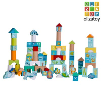 원목 바다 세계 만들기 블럭 놀이 세트 유아 장난감