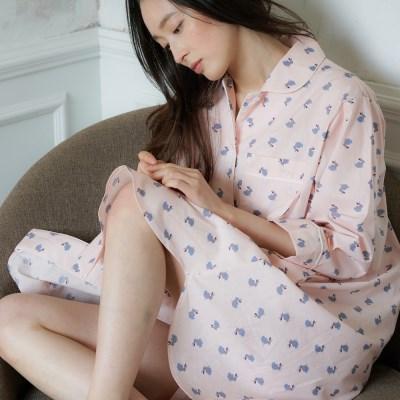 [w] Pink Gray Rabbit Maxi Long Shirt