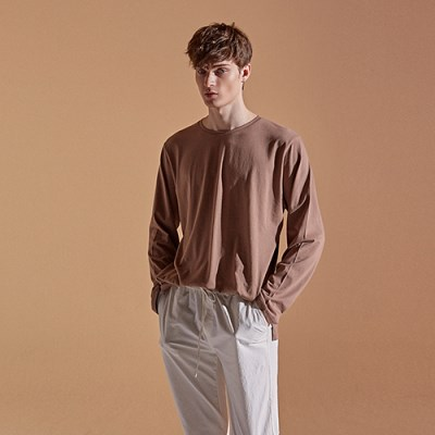 SOLID ROUND LONG T-SHIRTS_COCOA