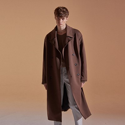 OVER STRAP DOUBLE COAT_CHOCO BROWN