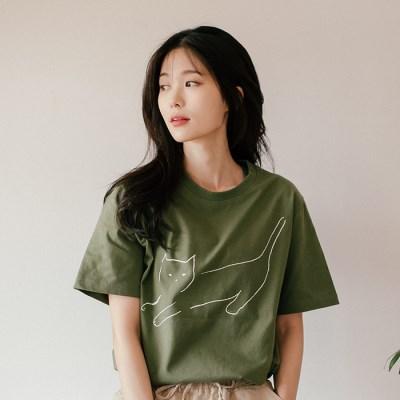[Organic cotton] The Cat (green)