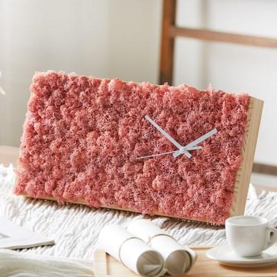 [숲앤숨] 가든 모스 벽시계(60x25cm) - 핑크