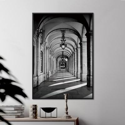 흑백 도시 건물 그림 포스터 인테리어 액자