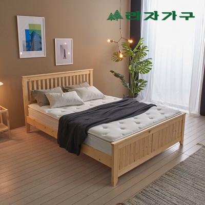 헬린 원목 침대 퀸Q-라텍스50T 매트리스 포함_(1126486)