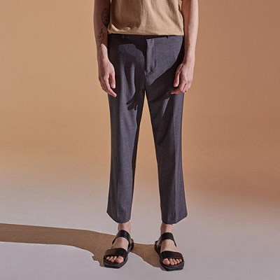 SEMI WIDE CROP SLACKS_GRAY