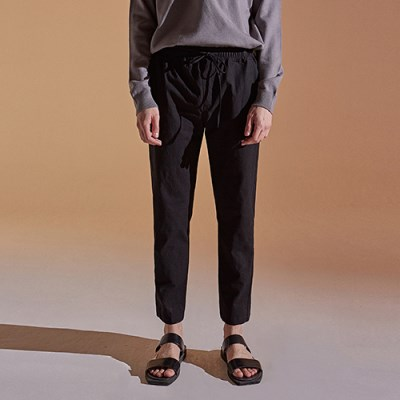 BANDING TAPERED COTTON PANTS_BLACK