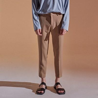 TAPERED CROP COTTON PANTS_BEIGE