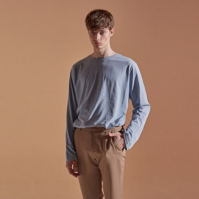 SOLID ROUND LONG T-SHIRTS_SKY BLUE