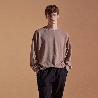 TEXTURE OVER CREW NECK_BEIGE