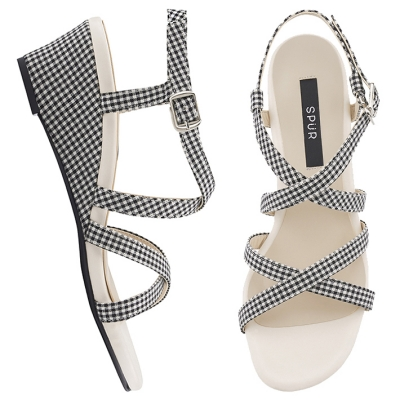 SPUR[스퍼] 웨지샌들 OS7071 Double cross strap wedge 블랙