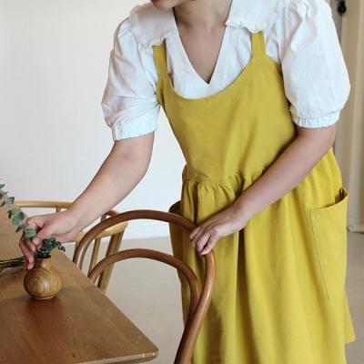 루나 벨 면린넨 앞치마 머스타드_(2178783)